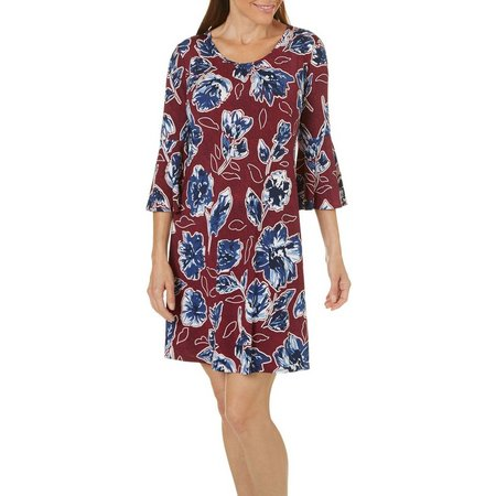 Espresso Womens Floral Puff Print Bell Sleeve Dress