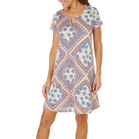 Espresso Womens Floral Diamond Print T-Shirt Dress