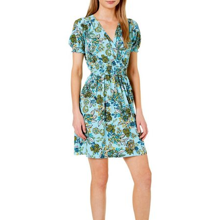 Enfocus Womens Floral Print V-Neck Faux Wrap Dress