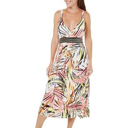 Studio West Womens Palm Print Midi Dress