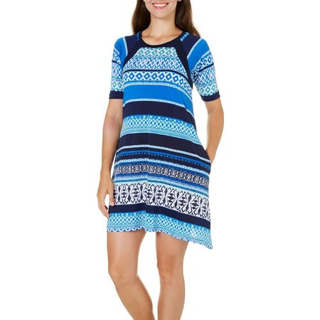 Rabbit Rabbit Womens Ikat Print Sharkbite Dress