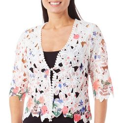 Rabbit Rabbit Womens Floral Crochet Lace Shrug