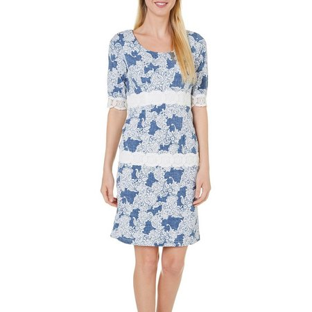 Rabbit Rabbit Womens Floral Lace Puff Print Dress