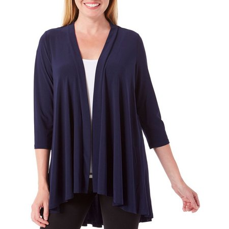 Lennie Womens Draped Opem Front Solid Cardigan