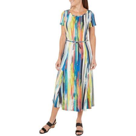 Lennie Womens Painterly Stripe Tie Waist Dress