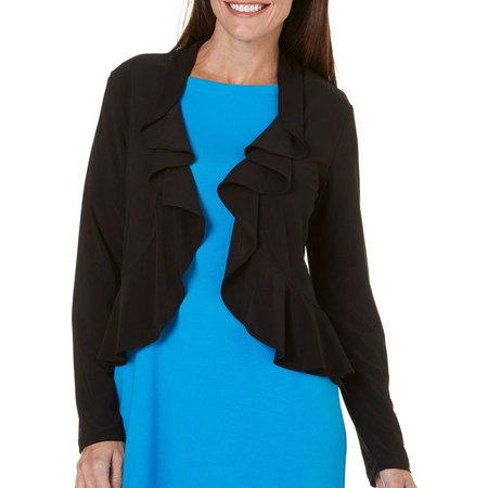 Lennie Womens Ruffled Open-Front Shrug