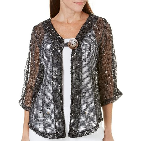 Lennie Womens Coconut Button Shimmer Shrug