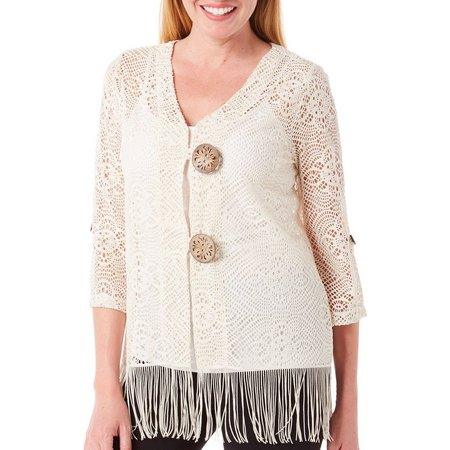 Lennie Womens Fringe Coconut Shrug Cardigan
