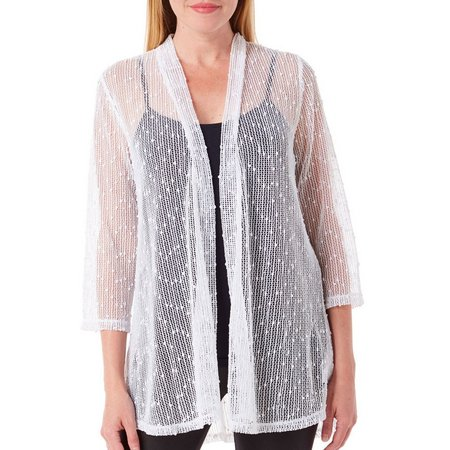 Lennie Womens Godet Crochet Cardigan
