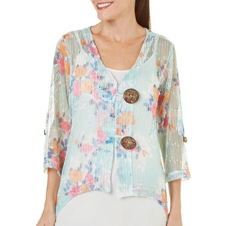 Lennie Womens Floral Cocout Button Shrug