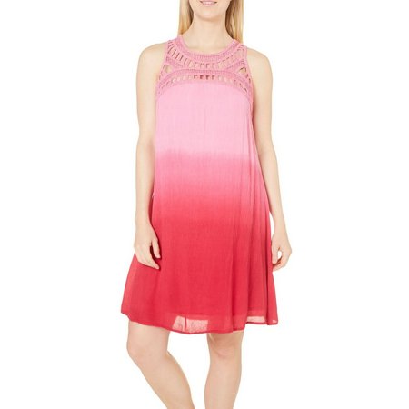 Lennie Womens Crochet Yoke Ombre Sundress