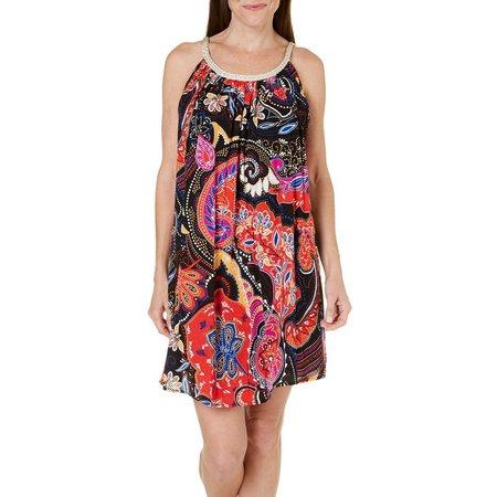Lennie Womens Sleeveless Paisley Blosuon Dress