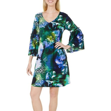 New! Lennie Womens Floral Print Trapeze Dress