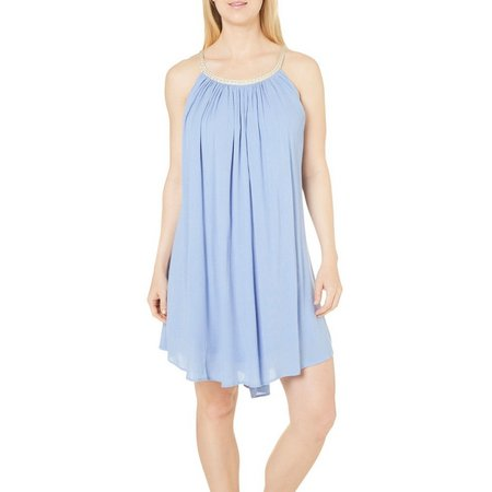Lennie Womens Solid Crinkled A-line Dress