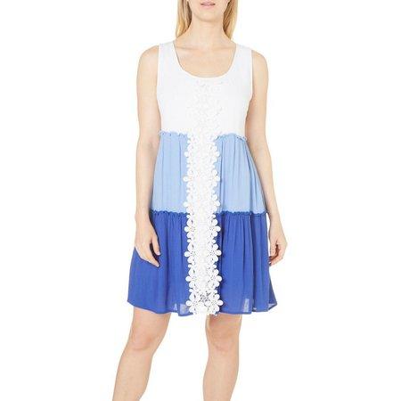 Lennie Womens Colorblocked Tiered Skirt Tank Dress