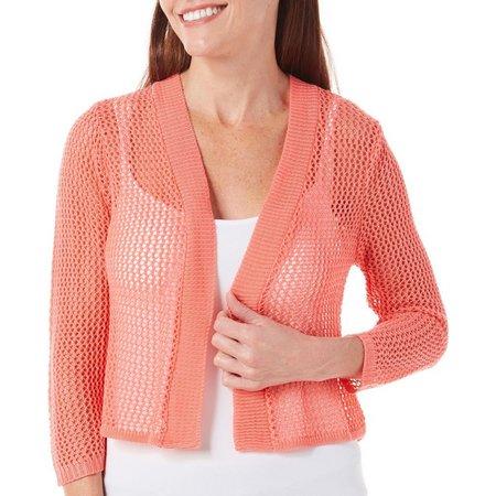 Lennie Womens Solid Crochet Shrug