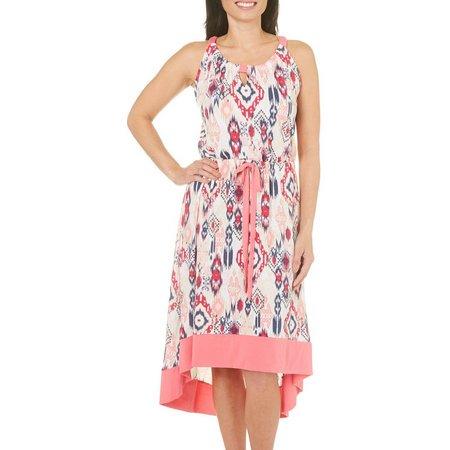 Isela Womens Ikat Print Tie Waist High-Low Dress