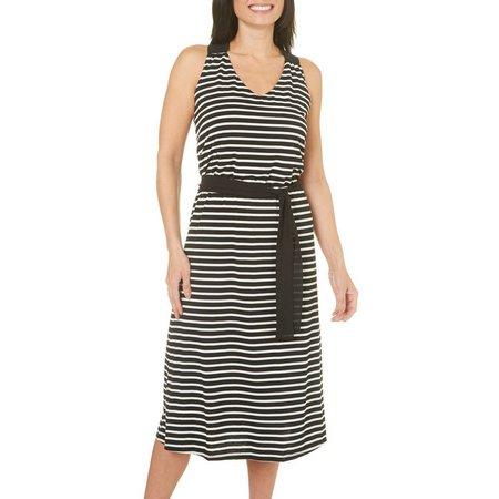 Isela Womens Striped Tie Waist Midi Dress