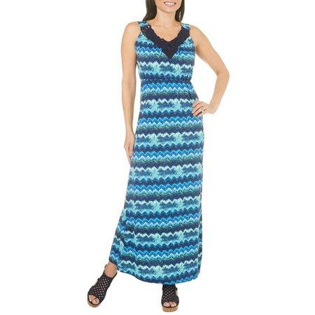 Isela Womens Chevron Printed Maxi Dress