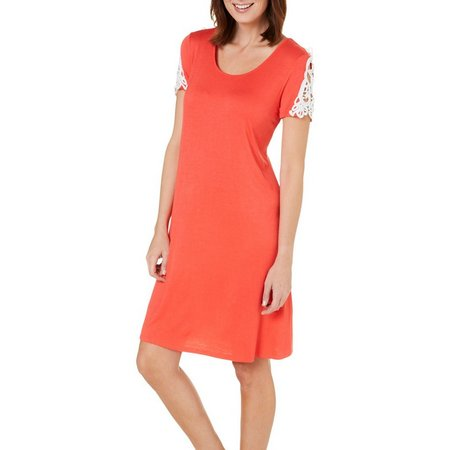Isela Womens Crochet Sleeve T-shirt Dress