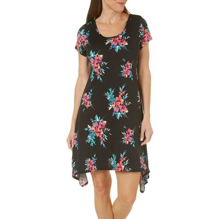 French Atmosphere Womens Floral T-Shirt Dress