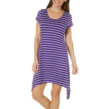French Atmosphere Womens Stripe Print Dress