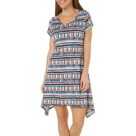 French Atmosphere Womens Painterly Print Dress