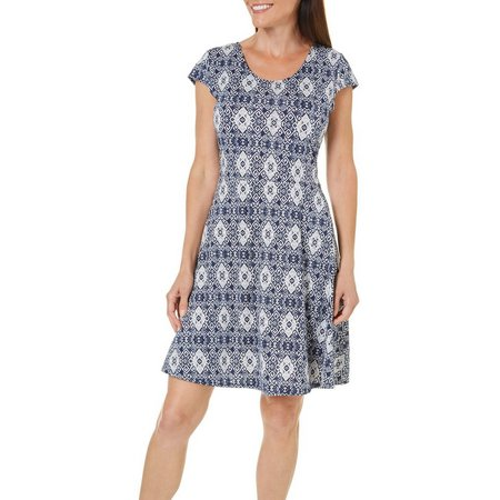 French Atmosphere Womens Lace Back Geo Print Dress
