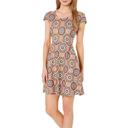 French Atmosphere Womens Lace Back Circle Print Dress