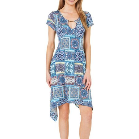 French Atmosphere Womens Patch Print Sharkbite Dress