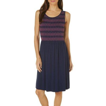 Spense Womens Smocked Stitch Sleeveless Dress