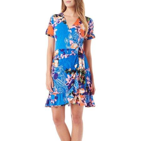 Beige Womens Floral Print Ruffle Hem Wrap Dress