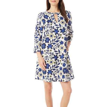 Beige Womens Floral Print Pocketed Shift Dress