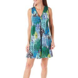 Beige Womens Geo Printed Shift Dress