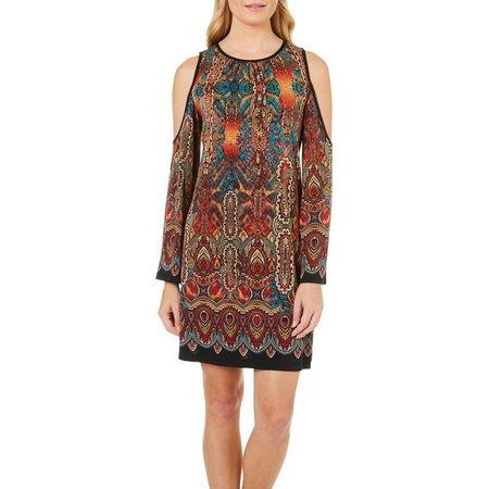 Beige Womens Paisley Medallion Cold Shoulder Dress