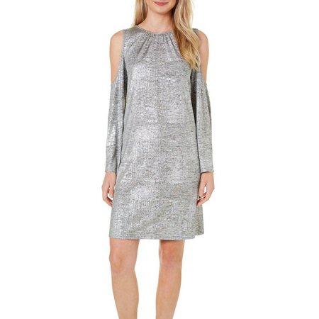 Beige Womens Metallic Cold Shoulder Dress