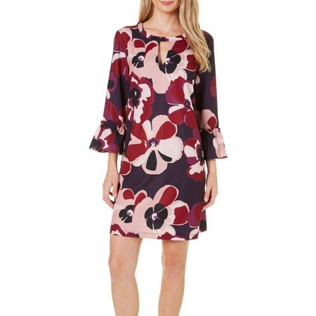 Beige Womens Floral Keyhole Bell Sleeve Dress