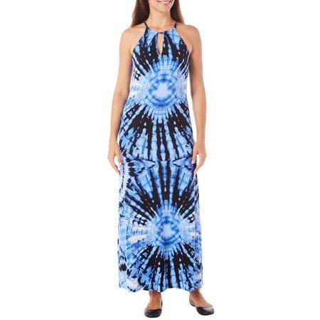 Beige Womens Tie Dye Keyhole Maxi Dress