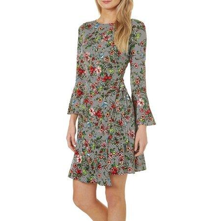 Beige Womens Floral Stripe Print Ruffle Hem Dress