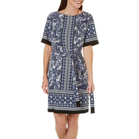 Gabby Skye Womens Paisley Print Tie Waist Dress
