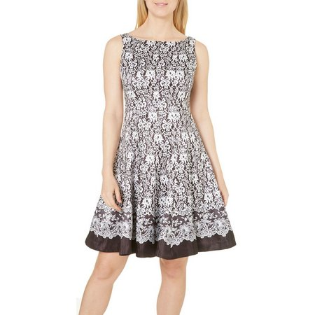 Julian Taylor Womens Lace Print Fit & FlareiDress