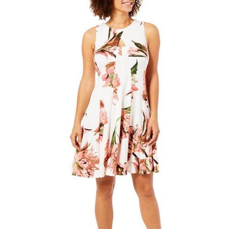 Gabby Skye Womens Floral Print Scuba Dress