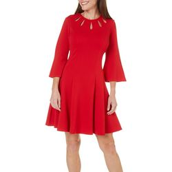 Julian Taylor Womens Textured Fit & Flare Dress