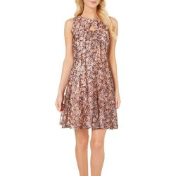 Julian Taylor Womens Floral Print Lace Dress