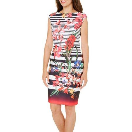 Gabby Skye Womens Striped Floral Sheath Dress