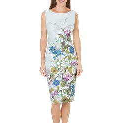 New! Gabby Skye Womens Floral Printed Sheath Dress