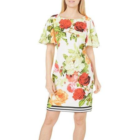 Julian Taylor Womens Floral Print Sheath Dress