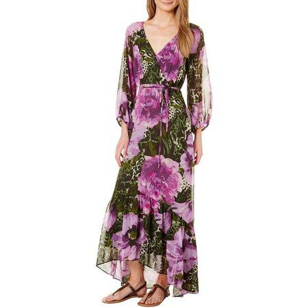 Gabby Skye Womens Floral Chiffon Long Sleeve Maxi