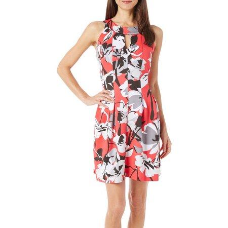 Gabby Skye Womens Abstract Floral Print Dress