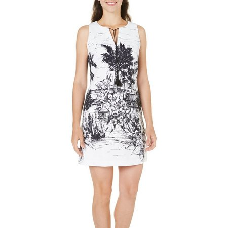 Julian Taylor Womens Beach Cabin Print Dress